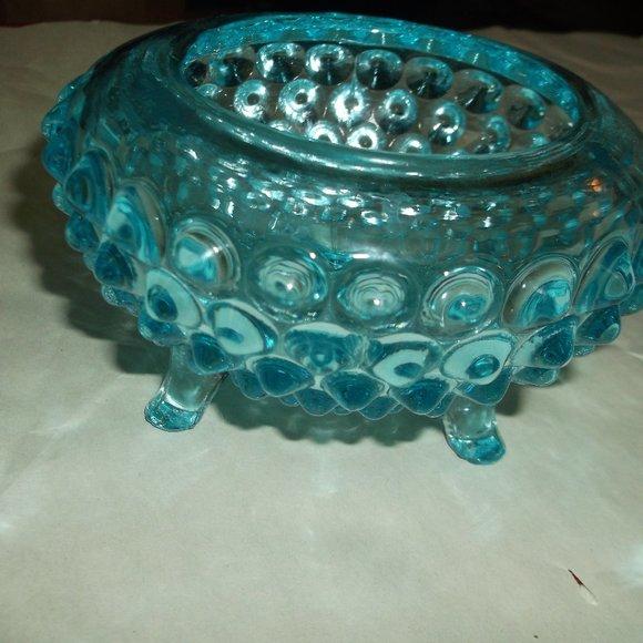 vintage hobnail blue glass bowl.